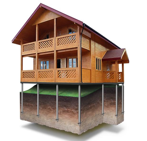 Дом из SIP панелей на винтовых сваях