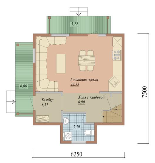 Проект дома из СИП панелей площадью 84 м2