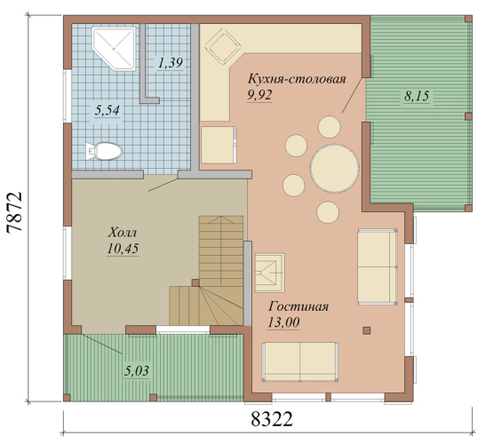 Проект дома из СИП панелей площадью 86 м2 - 1 этаж