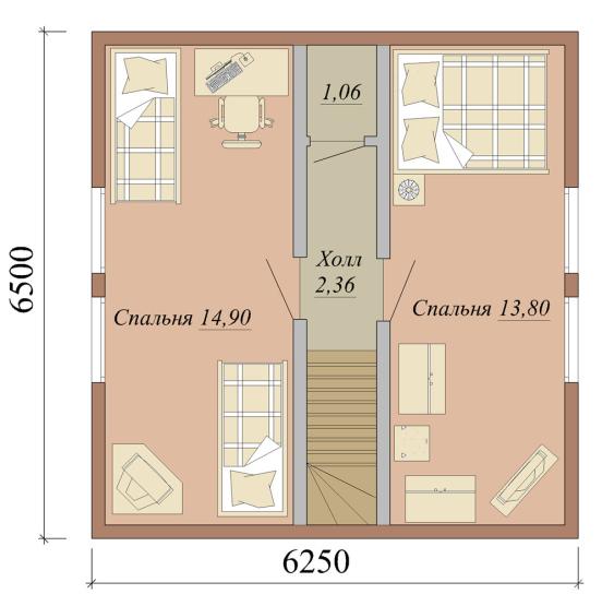 Проект дома из СИП панелей площадью 86 м2 - 2 этаж