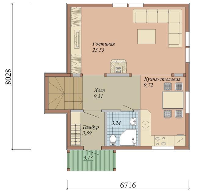 Проект дома из СИП панелей площадью 96 м2 - 1 этаж