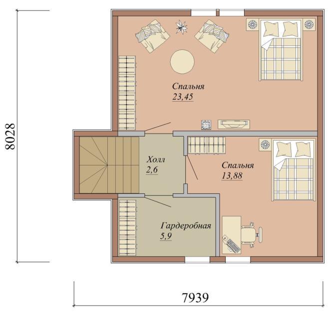 Проект дома из СИП панелей площадью 96 м2 - 2 этаж