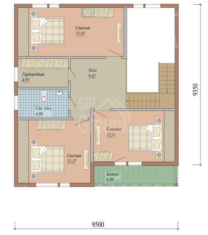 """Проект дома из СИП панелей """"Альбион"""" - планировка"""