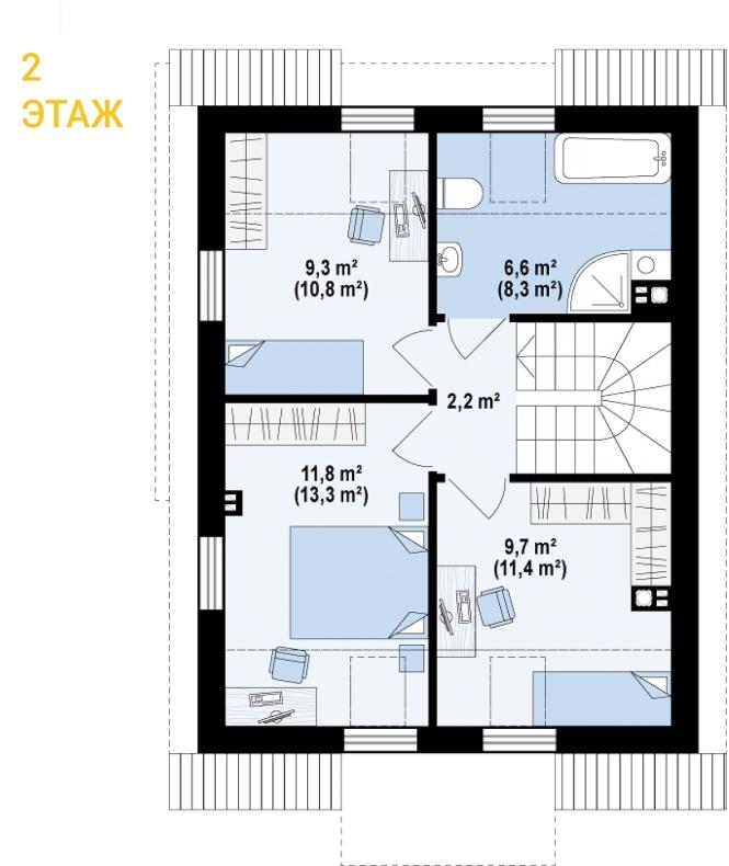 """Проект дома из СИП панелей """"Бриз"""" - планировка 2 этажа"""