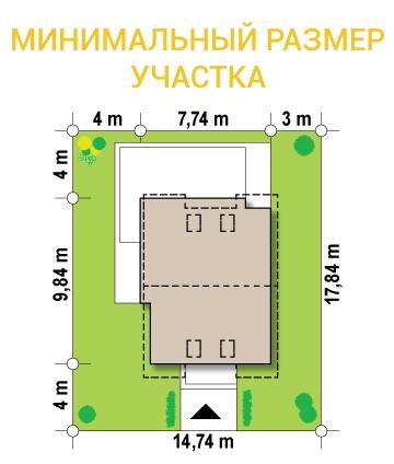 """Проект дома из СИП панелей """"Бриз"""" - минимальный размер участка"""