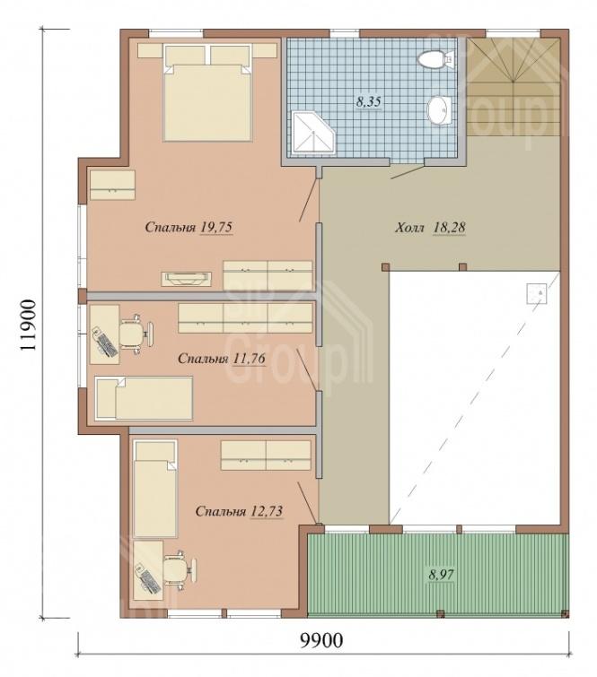 """Проект дома из СИП панелей """"Магнат"""" - планировка"""