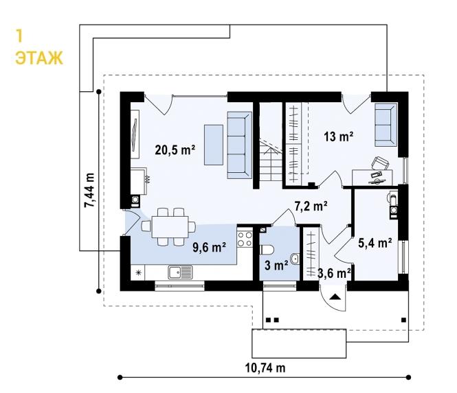 """Проект дома из СИП панелей """"Основательный"""" - планировка 1 этажа"""