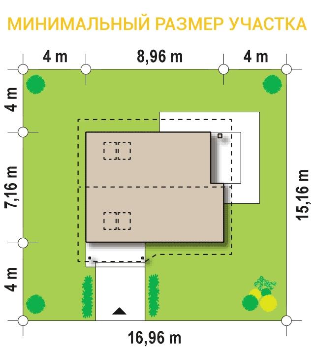 """Проект дома из СИП панелей """"Удачный"""" - минимальный размер участка"""