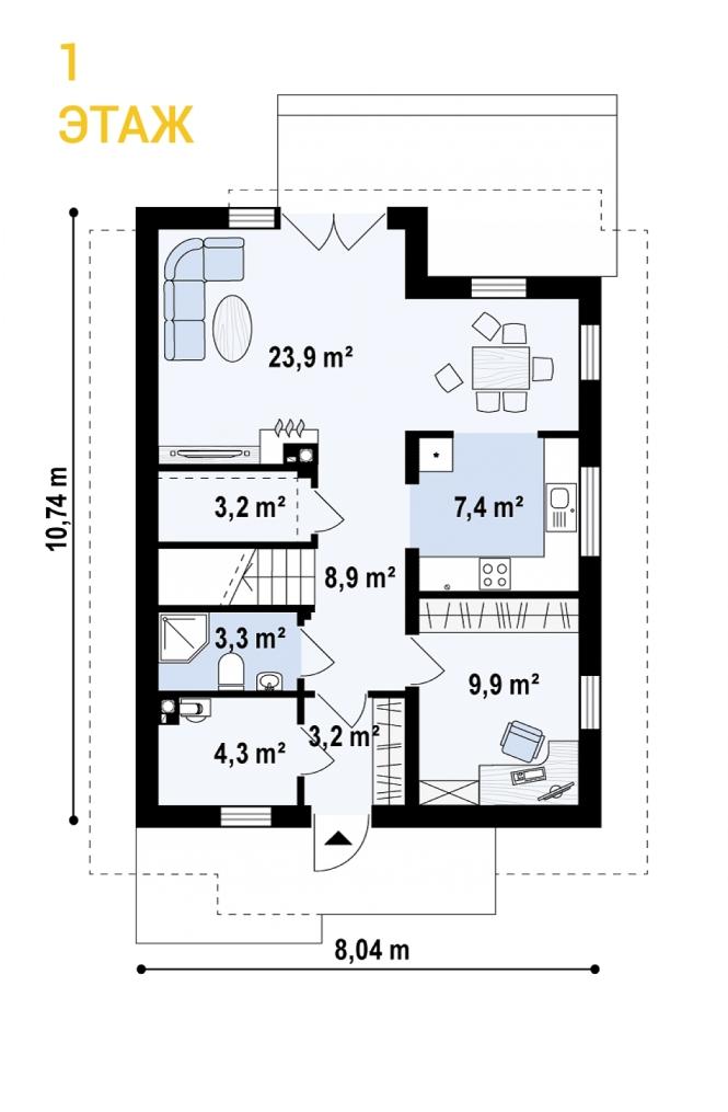 """Проект дома из СИП панелей """"Верона"""" - планировка 1 этажа"""