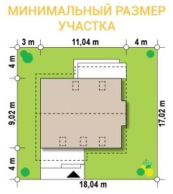 """Проект дома из СИП панелей """"Вертиго"""" - минимальный размер участка"""