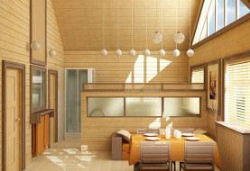 Внутренняя отделка столовой зоны в доме из СИП панелей
