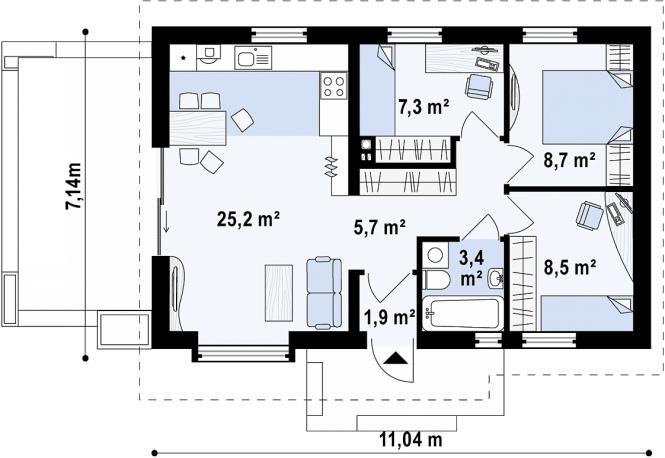 """Проект одноэтажного дома из СИП панелей """"Бамби"""" - планировка"""