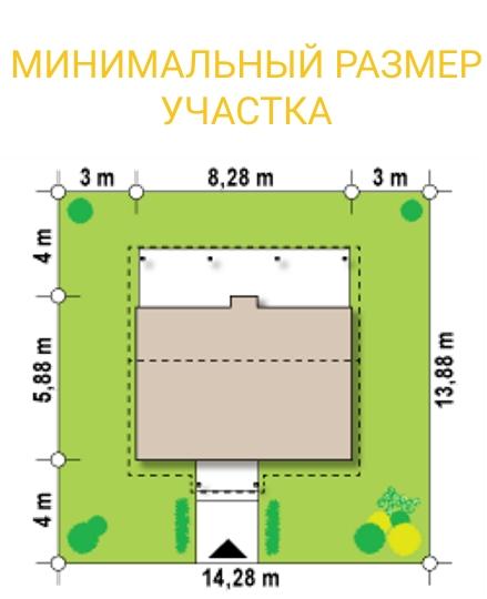 """Проект дачного дома из СИП панелей """"Дачный"""" - минимальный размер участка"""