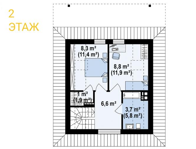 """Проект дома из СИП панелей """"Конфетка"""" - планировка 2 этажа"""