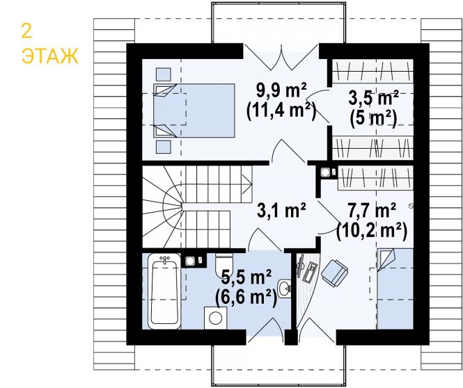 "Проект дома из СИП панелей ""Квадро"" - планировка"