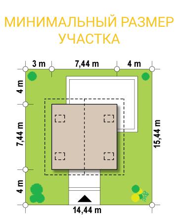 """Проект дома из СИП панелей """"Квадро"""" - минимальный размер участка"""