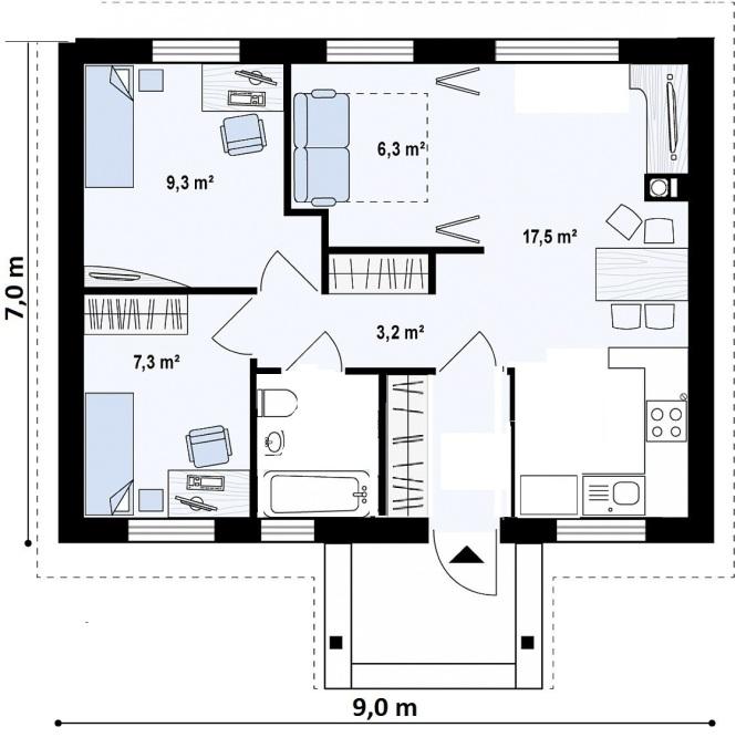 """Проект одноэтажного дома из СИП панелей """"Ласточка"""" - планировка"""