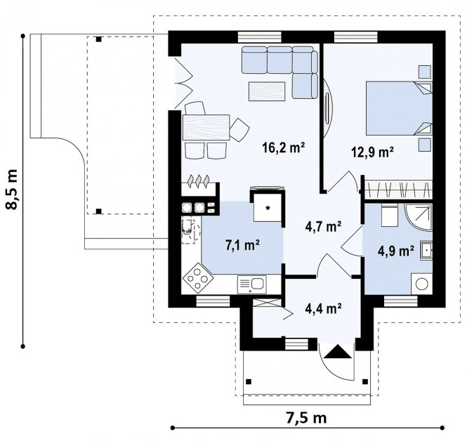 """Проект небольшого дома из СИП панелей """"Лесной"""" - планировка"""