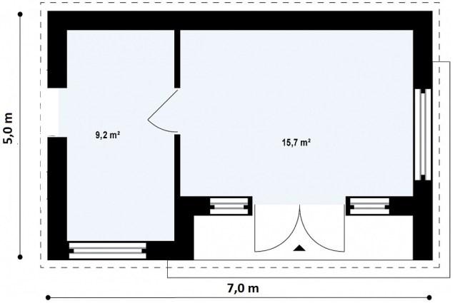 """Проект одноэтажного павильона из СИП панелей """"Микрус"""" - планировка"""