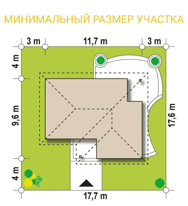 """Проект дома из СИП панелей """"Натали"""" - минимальный размер участка"""