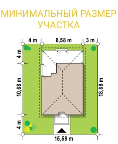 """Проект одноэтажного дома из СИП панелей """"Ранчо"""" - минимальный размер участка"""