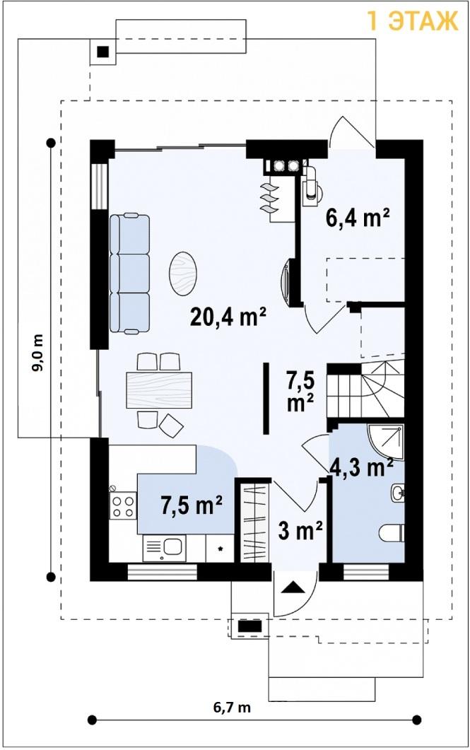 """Проект дома из СИП панелей """"Терем"""" - планировка 1 этажа"""