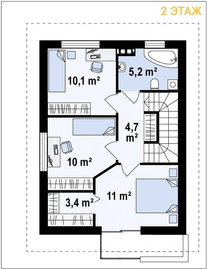 """Проект дома из СИП панелей """"Терем"""" - планировка 2 этажа"""