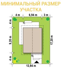 """Проект дома из СИП панелей """"Терем"""" - минимальный размер участка"""