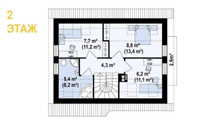 """Проект дома из СИП панелей с мансардой """"Удобный"""" - планировка 2 этажа"""