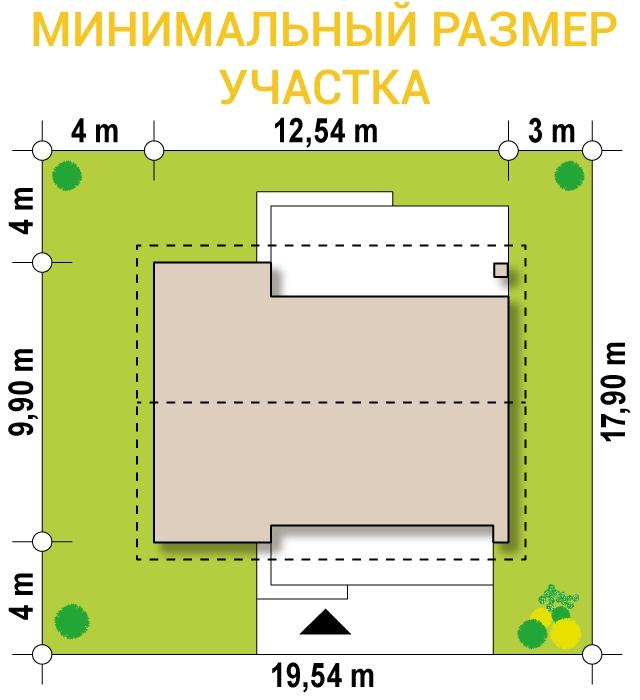 """Проект одноэтажного дома из СИП панелей """"Весенний"""" - минимальный размер участка"""