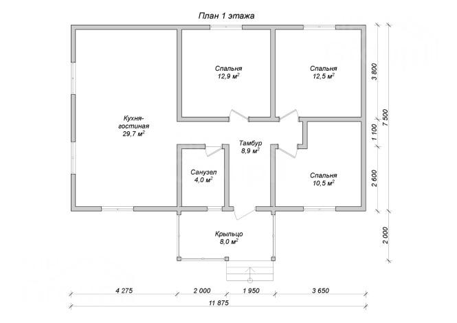 Недорогой дом из СИП панелей - планировка