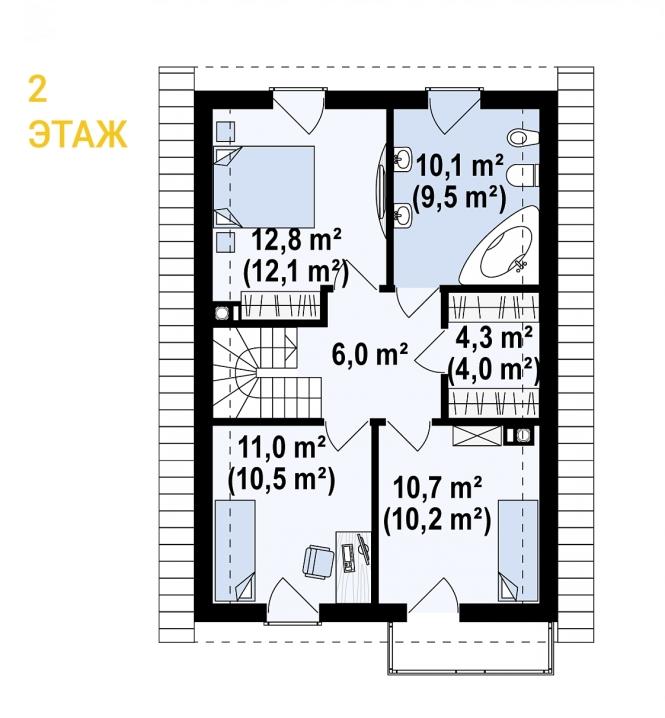 """Проект дома из СИП панелей """"Гармония"""" - планировка 2 этажа"""