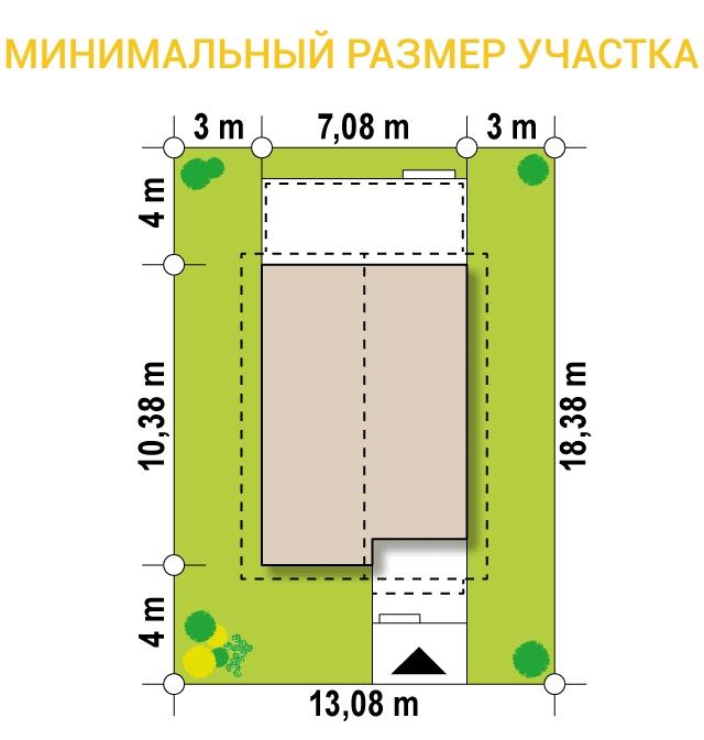 """Проект дома из СИП панелей """"Гармония"""" - минимальный размер участка"""