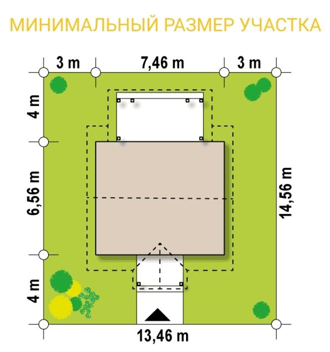 """Проект гостевого дома из СИП панелей """"Гостевой"""" - минимальный размер участка"""