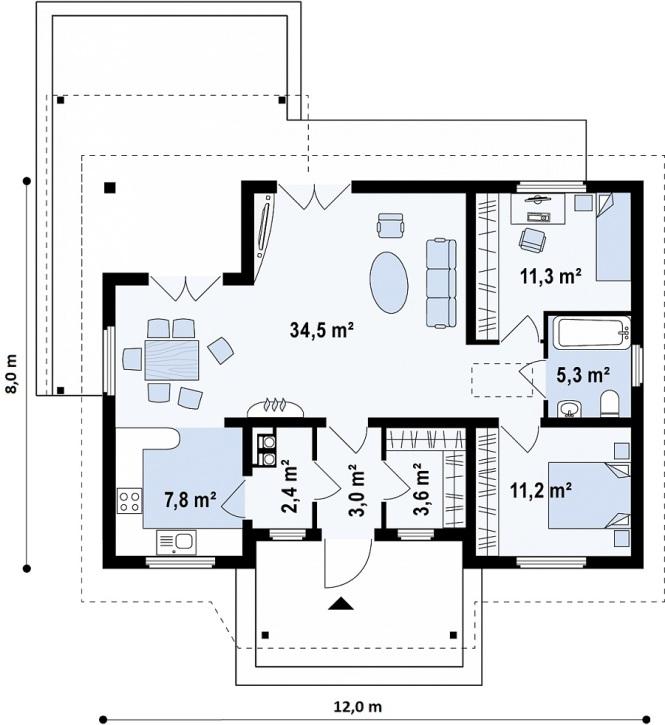 """Проект одноэтажного дома из СИП панелей """"Южный"""" - планировка"""