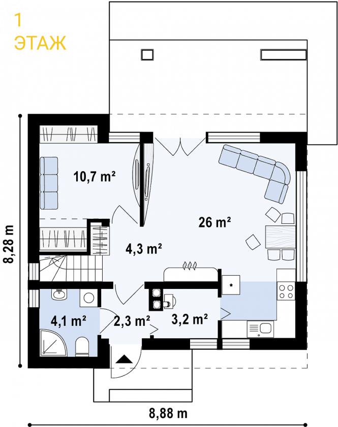 """Проект дома из СИП панелей """"Лео"""" - планировка 1 этажа"""