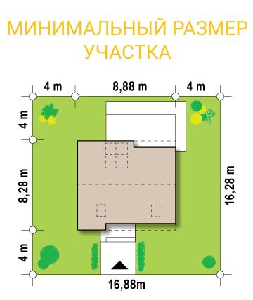 """Проект дома из СИП панелей """"Лео"""" - минимальный размер участка"""