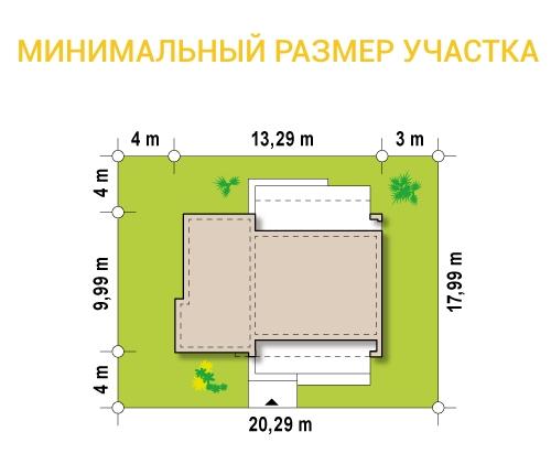 """Проект одноэтажного дома из СИП панелей """"Малибу-2"""" - минимальный размер участка"""