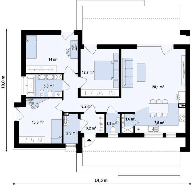 """Проект одноэтажного дома из СИП панелей с гаражом """"Малибу"""" - планировка"""