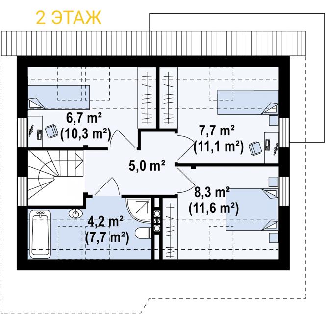 """Проект мансардного дома из СИП панелей """"Марика"""" - планировка 2 этажа"""