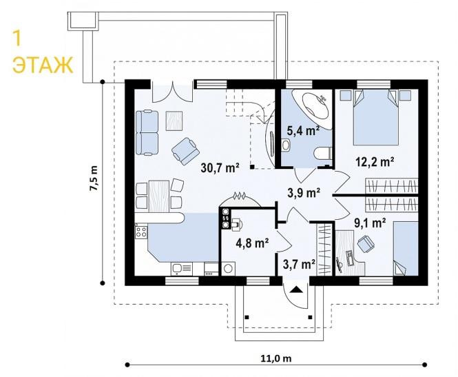 """Проект одноэтажного дома с мансардой из СИП панелей """"Незабудка"""" - планировка"""