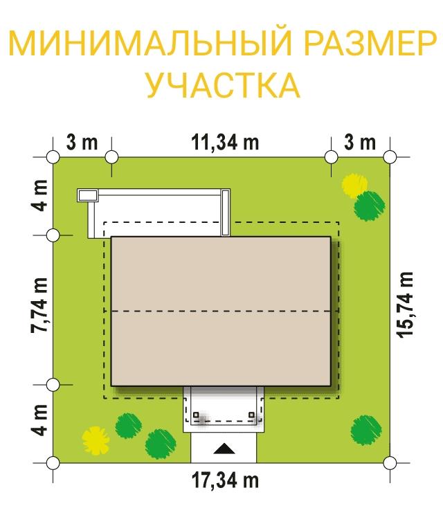 """Проект одноэтажного дома с мансардой из СИП панелей """"Незабудка"""" - минимальный размер участка"""