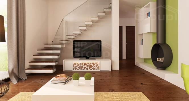 """Проект одноэтажного дома с мансардой из СИП панелей """"Незабудка"""" - фото интерьера"""