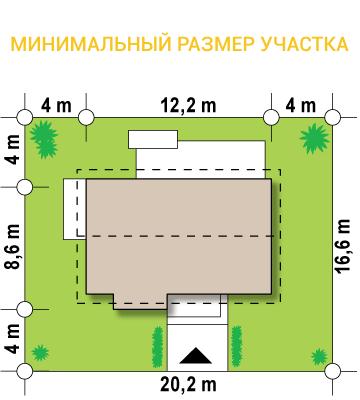 """Проект одноэтажного дома из СИП панелей """"Открытый"""" - минимальный размер участка"""