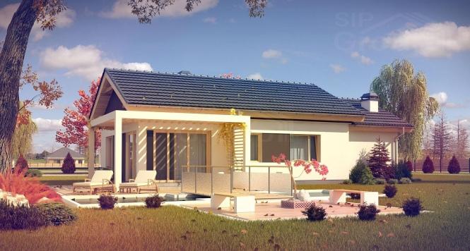 """Проект одноэтажного дома из СИП панелей с гаражом """"Санторини"""""""
