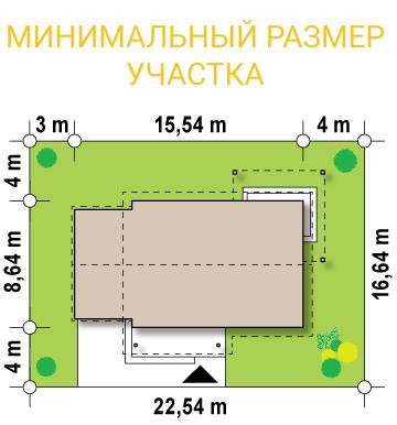 """Проект одноэтажного дома из СИП панелей с гаражом """"Санторини"""" - минимальный размер участка"""