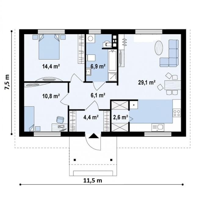 """Проект дома из СИП панелей """"Шале"""" - планировка"""