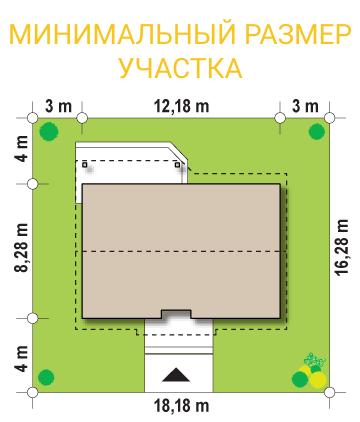 """Проект дома из СИП панелей """"Симпатичный"""" - минимальный размер участка"""