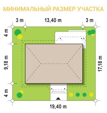 """Проект одноэтажного дома из СИП панелей """"Скандинавия"""" - минимальные размеры участка"""