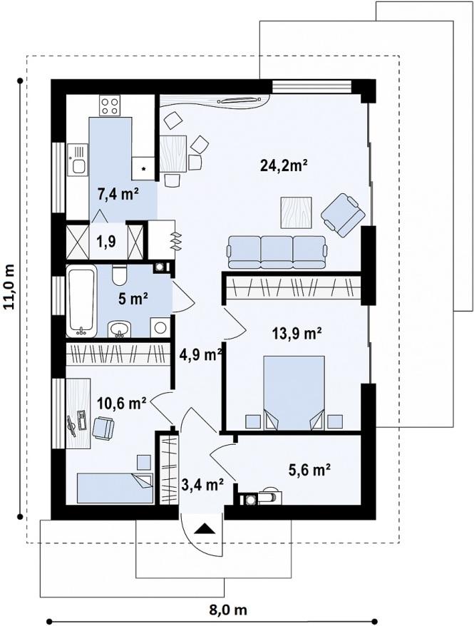 """Проект компактного одноэтажного дома из СИП панелей """"Солнечный"""" - планировка"""